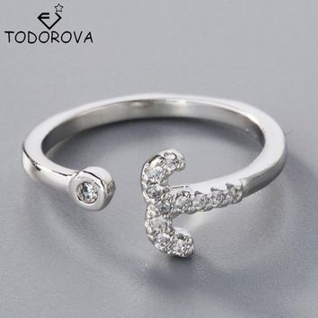Todorova 925 Sterling Silver Jewelry CZ Zircon 12 Constellation Aries Rings for Women 2017 Resizable Silver 12 Zodiac Star