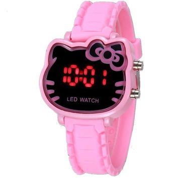 Pink Cute Hello Kitty Children Watches Fashion Cartoon Cat Girl Clock Femme Rejores Ladies Dress Saats Enfant Hours Hodinky
