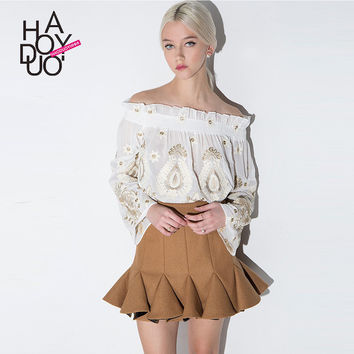 Haoduoyi Womens High waist Pleated Retro Mermaid Skirt Fashion Lady Ruffles Mini Skirts