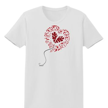 Broken Heart Popped Red Heart Balloon Womens T-Shirt