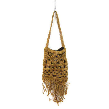 Vintage macrame purse Twine Jute Rope Hippie Bag Long Boho Chic Bohemian Shoulder Purse Retro 1970s OOAK Purse