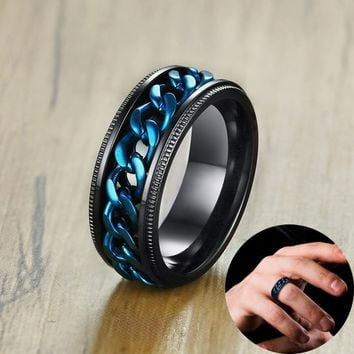 8mm Men's FIDGET Black Rings with Blue Center Curb Chain Spinner Ring Stainless Steel Reliever Worry Wedding Band Male Jewelry