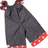 3 Months to 5T size loose fit denim and red polka dot baby girl jumpsuit baby jumper newborn romper photo prop toddler jumpsuit