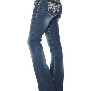 Grace in LA Women's Indigo Medallion Embellished Jeans - Boot Cut