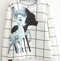White Plaid Bambi Printed Sweatshirt
