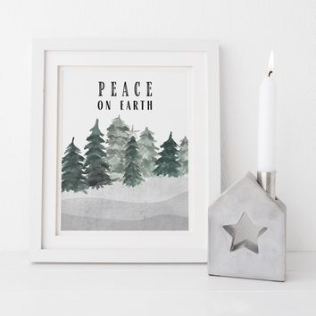 Peace on Earth Modern Minimalist Christmas Wall Art Print