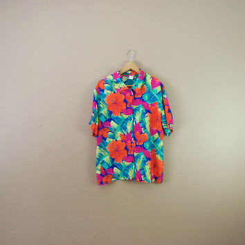 80s Hawaiian Shirt - Women Novelty Print Blouse Palm Print Shirt Short Sleeve Button Up Blouse Hibiscus Print Hawaiian Top Floral Blouse