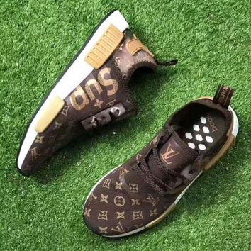 Adidas x Supreme x LV Women Running Breathable Sneakers Sport Shoes brown H Z