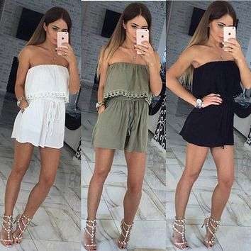 Womens Charming Ruffle Off Shoulder Romper