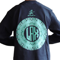 Lax Monogram Navy Long SleeveFront Pocket Tee - Sportabella, Ltd Store