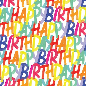 Birthday Party Gift Wrapping Paper, Rainbow Birthday (8 Rolls 5ft x 30in)