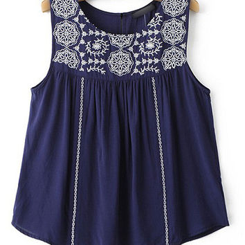 Navy Embroidered Sleeveless Blouse
