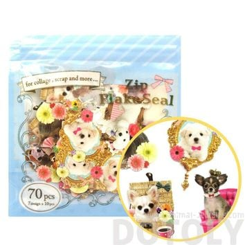 Poodles Chihuahuas Maltese Puppy Dog Themed Photo Sticker Flake Seals From Japan | 70 Pieces