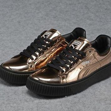 DCCKIJ2 Puma Rihanna Patent Leather Casual Flatform Shoes Golden