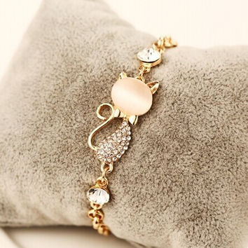 Fashion  Jewelry Pulseiras Femininas Bracelets For Women Cat's Eye Cute  Cat Charm Bracelet