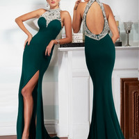 New Arrival Arabic Style Evening Dresses Shinning Halter Neck Crystal Beading Robe De Soiree Formal Women Backless Prom Dresses