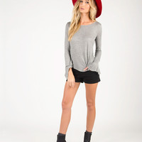 Open Back Flared Long Sleeve Top - Gray