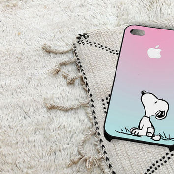 Snoopy Gradient Pink Mint Custome Apple Logo iPhone 5 iPhone 4 / 4S Plastic Hard Case Soft Rubber Case