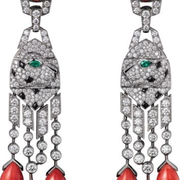Panthère de Cartier High Jewelry earrings: Earrings - platinum, six coral drops and two cabochon-cut corals totalling 20.22 carats, emerald eyes