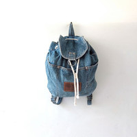 Vintage 80s rucksack. Esprit jean backpack. denim shoulder bag.