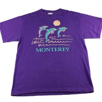 Vintage 90s Monterey Dolphins Purple Shirt Made in USA Mens Size Medium