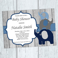 Baby Boy Shower Invitation Boy Elephant Baby Shower Invitation Boy Baby Shower Invites (57B1W) Thank You Card - Instant Download