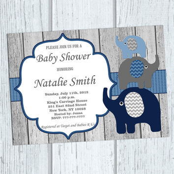 Elephant Baby Shower Invitation Baby from diymyparty on Etsy