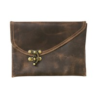 Vintage Leather Clutch Bag Handmade by