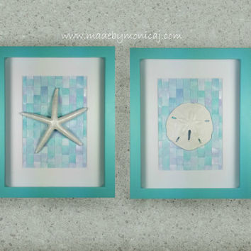 Beach House Wall Art Set.  Starfish and Sand Dollar Wall Decor.  Set of Two.  Aqua and Lilac