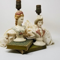 Pair Vintage French Colonial Figural Boudoir Lamps F B Johnson