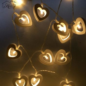 10 LED Warm Wooden Heart Shape String Fairy Lights For Wedding Decoration Party Valentine's Day Christmas Xmas Decoration DIY