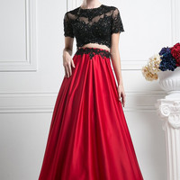 Two Piece Black Short Sleeves Red Long Prom Dresses