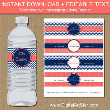 Printable Baby Shower Water Bottle Label Template - Coral and Navy Wedding Decorations - Instant Download Its a Girl Baby Shower Decorations