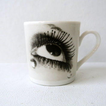 Vintage Man Ray Trust Axis Paris Fine Porcelain Demitasse Cup Surrealist Photography Baldo Art Dada Mad Men