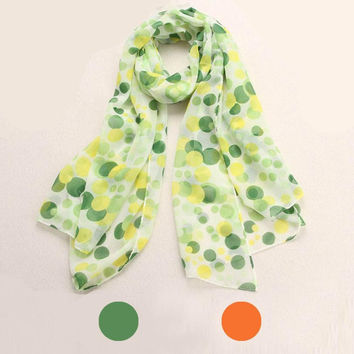 Chiffon Polka Dots Long Soft Neck Scarf