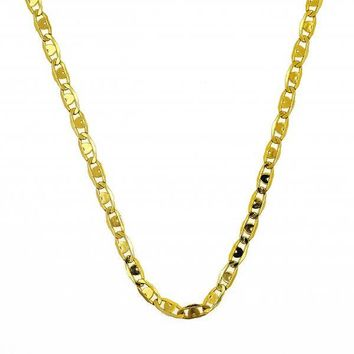 Gold Layered Basic Necklace, Pave Mariner Design, Gold Tone