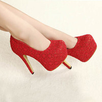 Fashion New Platform Summer Ladies Lace Red Wedding Stiletto Unique High Heels