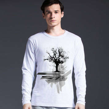 Print Creative Long Sleeve Men's Men's Fashion Pattern T-shirts = 5838838017