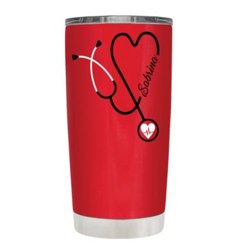 Personalized White Stethoscope Nurse Heart on Red 20 oz Tumbler Cup