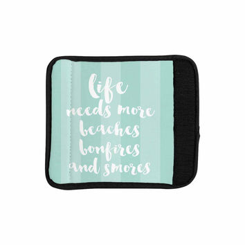 "Sylvia Cook ""Beaches & Bonfires - Mint"" Green Typography Luggage Handle Wrap"
