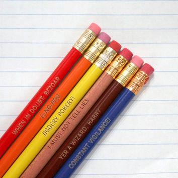 jiggery pokery engraved pencil set of 6 pencils.