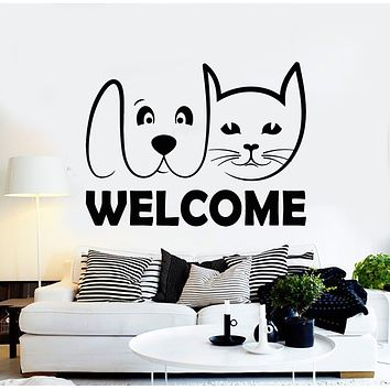 Vinyl Wall Decal Welcome Home Decor Abstract Cat Dog Pet Shop Stickers Mural (g2729)