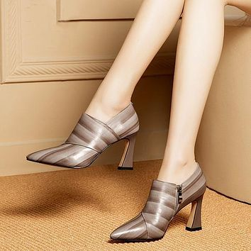 Emboss Genuine Leather Statement Pumps