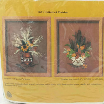 Vintage Sewing Crewel Kit, Cattails and Daisies ,Flower Arrangement,New in Package,Needlework Kit,Embroidery, Brown, Green, Orange, Retro