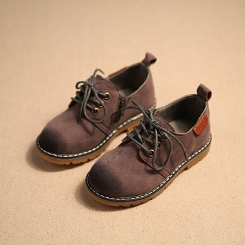 2016 Spring Children Casual Shoes Child Leather Sport Shoes Retro Style Child Kids Vintage Leather Martin Boots Baby Sneakers