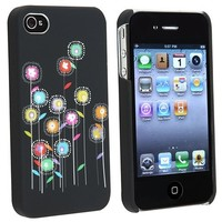 eForCity Flower Hard Rubber Case Cover Compatible With Version iPhone® 4 4G iPhone® 4S - AT&T, Sprin