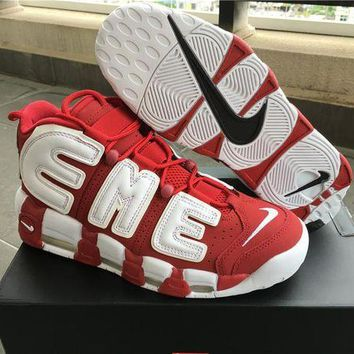 Supreme x Air More Uptempo Big R Scottie Pippen White/Red Basketball Shoes DCCK