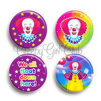 Pennywise Lisa Frank 4 Pin Button Set | Stephen King Horror 90s 1990s Evil Clown It Creepy Rainbow Neon Pennywise The Dancing Clown Scary