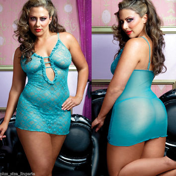 Plus Size Lingerie One Size Queen Chemise and Thong   STM9497X