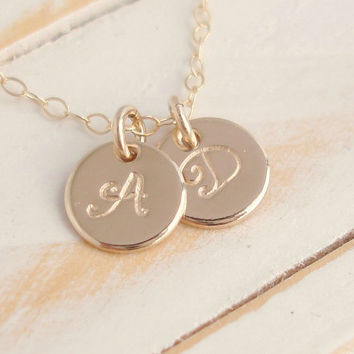 Tiny PLUS 14k Gold Filled Initial Monogram Disc Necklace Handmade Mothers Necklace,Personalized 2 Disc Necklace